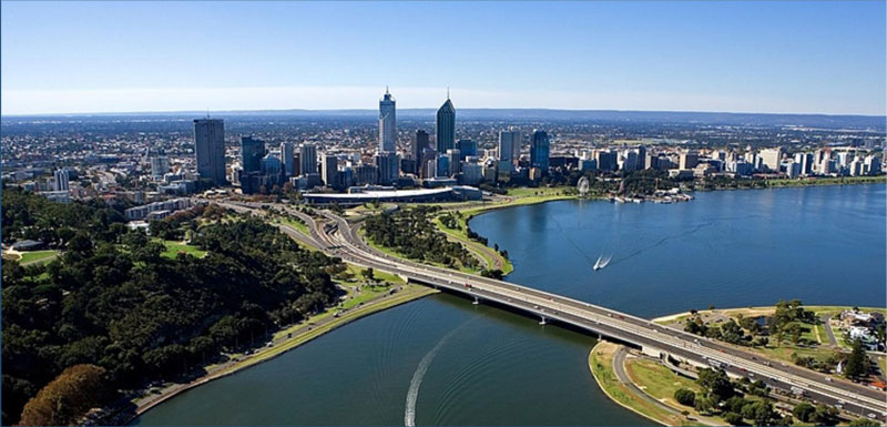 Arial photo of the City of Perth